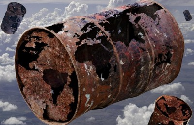 """© Image: Planetsyria.org - Barrel bombs are locally produced weapons, typically 300 to 600 kilograms. They are constructed from """"large oil drums, gas cylinders, and water tanks, filled with high explosives and scrap metal to enhance fragmentation, and then dropped from helicopters usually flying at high altitude,"""" according to the HRW report. MPC Journal"""