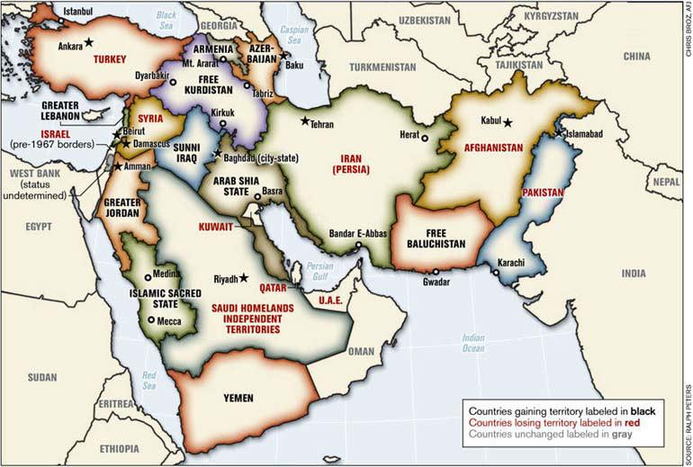 """خريطة الكولونيل رالف بيترز لـ""""الشرق الأوسط الجديد"""" بعد تعديل حدود بلدانه"""