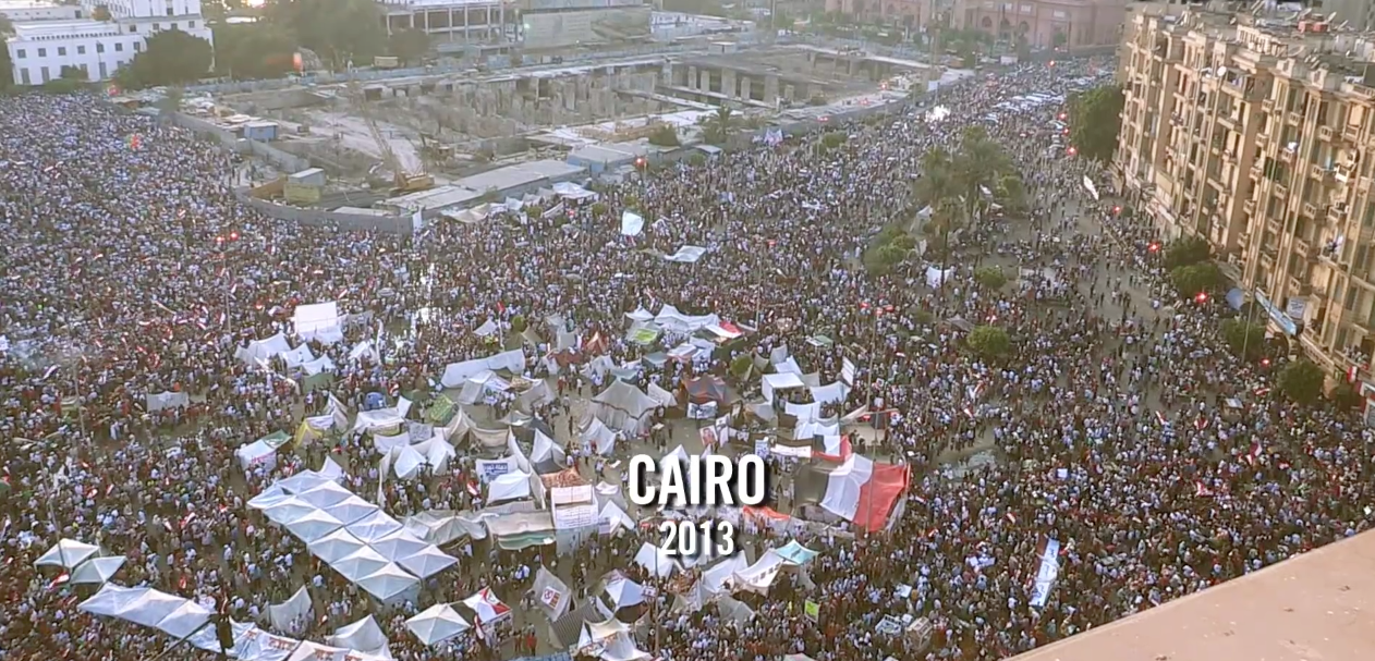 People gathered in Tahrir Square to protest against Morsi.