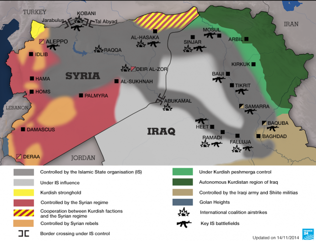 Why Could the Rise of the Islamic State Be a Chance for a Real Reformation of Islam? - © Image: FRANCE 24 - Map showing the areas controlled by Islamic State in Syria and Iraq