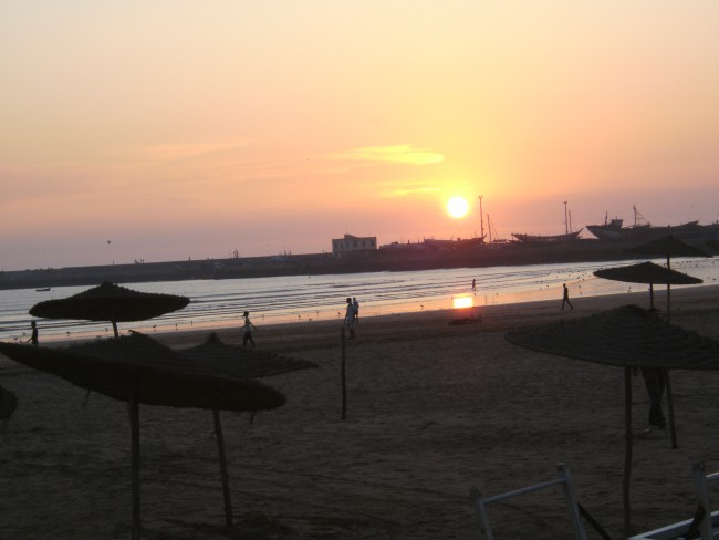 The sun sets down at the beach of the moroccan city Safi (Asfi)