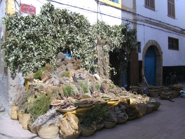 Dried herbs and spices Zair street in Safi, Morocco
