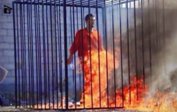 Jordanian pilot on fire