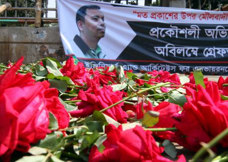 A memorial to murdered writer-blogger Avijit Roy at the University of Dhaka campus. Demotix/SK Hasan Ali. MPC Journal