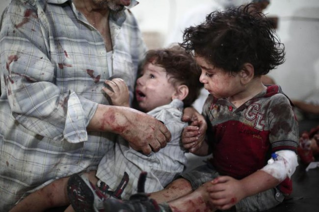 I24 news The Syrian air force just dropped chlorine gas bombs on children.