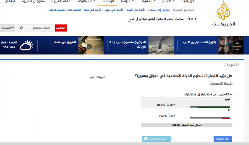 ISIS Is More Popular Than What We Might Think - © MPC Journal screenshot of Aljazeera's website