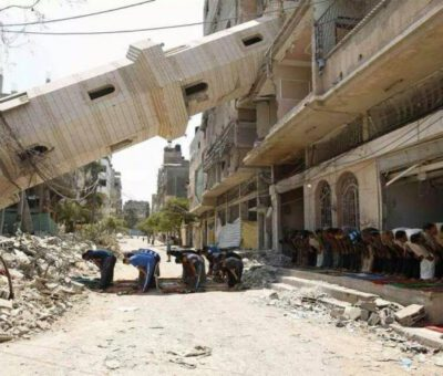 A photo show the destruction in Syrian war