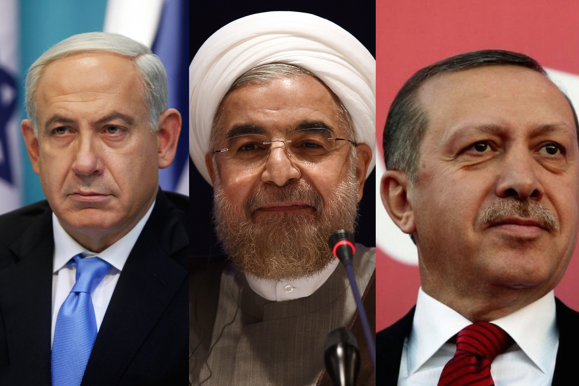 Israel's Prime Minster Benjamin Netanyahu (left), Iran's President Hassan Rouhani (middle) and Turkey's President Recep Tayyip Erdoğan (right) – @ MPC Journal.