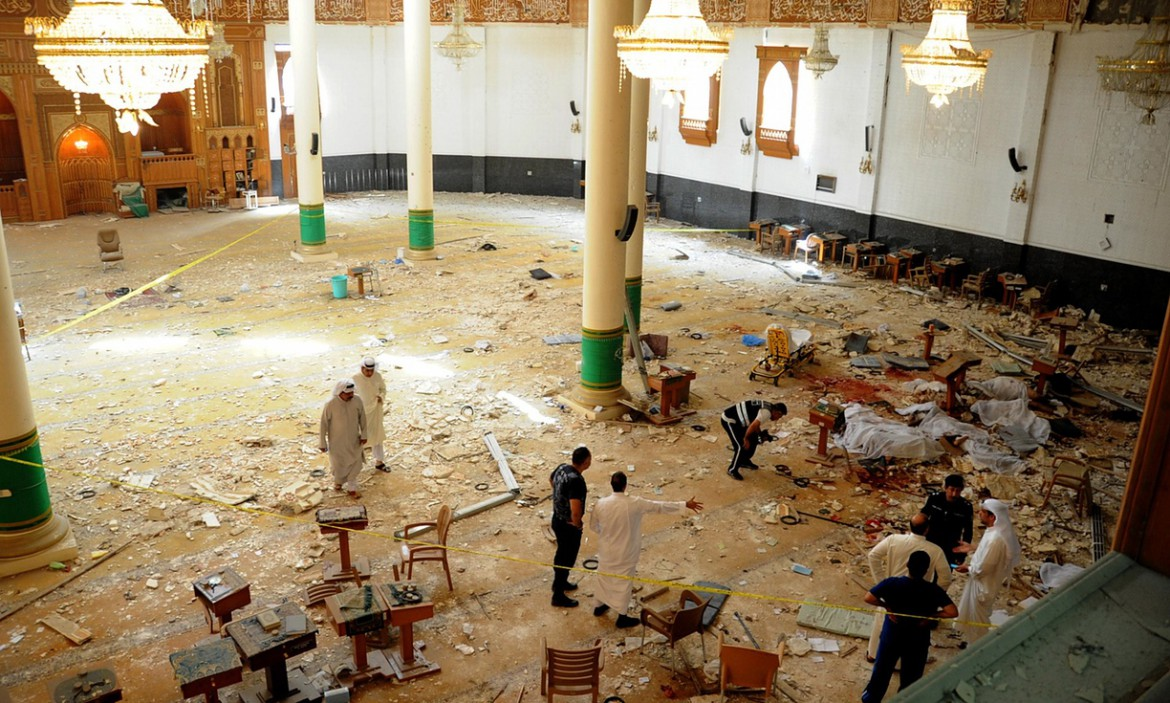 Al-Sadeq mosque in Kuwait after the attacks – © Image: UPI/Landov/Barcroft Media. MPC Journal