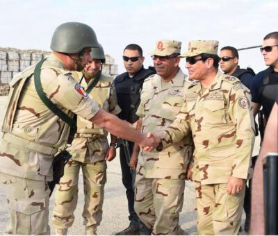 President of Egypt Al-Sisi in military uniform talking to police and military forces in the north of Sinai – © Image: alsisiofficial on Instagram. MPC Journal