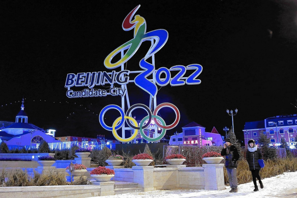 Beijing's logo for its bid to get the 2022 Winter Olympics is displayed in Zhangjiakou. © Image: Lintao Zhang / Getty Images.