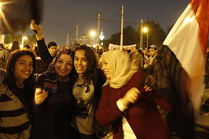 Egyptian women celebrate outside Egypt's presidential palace after President Hosni Mubarak stepped down – © Getty Images.