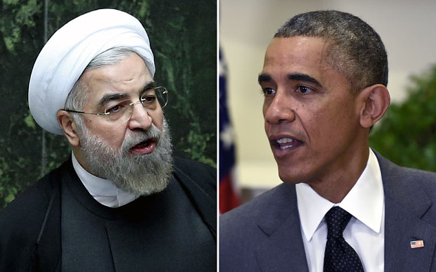 Left: Iranian president Hassan Rouhani. Right: US president Barack Obama Photo: AP