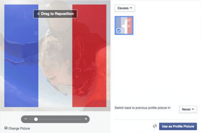 The French flag filter can go over profile pictures on Facebook Facebook