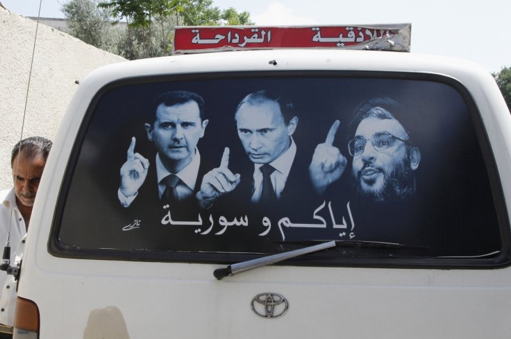 A poster of Syria's President Assad, Russia's President Putin, and Hezbollah leader Hassan Nasrallah on a Latakia taxiReuters - Russo-Saudi Conflicting Interests in Syria - MPC Journal