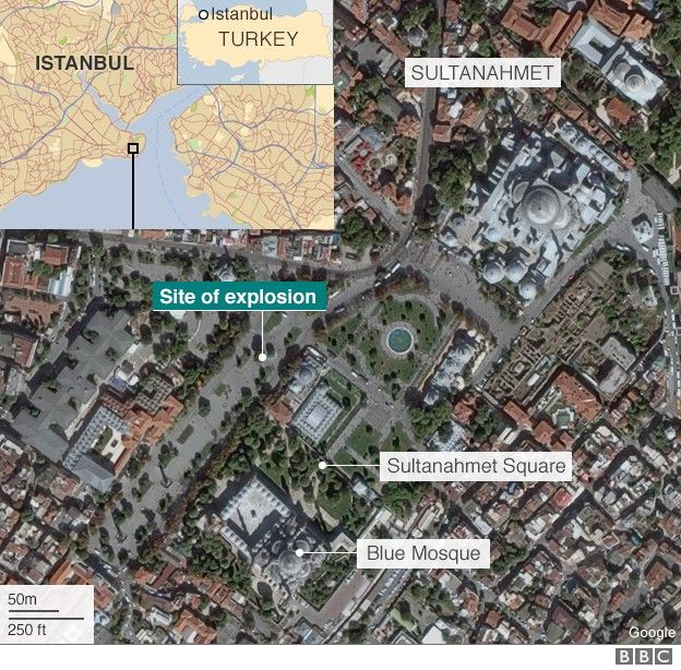 ISIS Attack in Istanbul – Two Targets in One -  This BBC map shows the locations of the three venues.