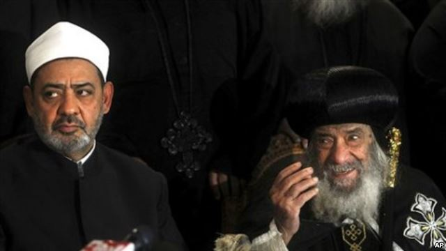 The Taboo of Atheism in Egypt - MPC Journal - Ahmed el-Tayeb the grand sheik of Cairo's Al-Azhar, the pre-eminent theological institute of Sunni Islam, left, and Pope Shenouda III, the head of the Coptic church, talk to the media in Cairo, Egypt, Sunday Jan. 2 , 2011
