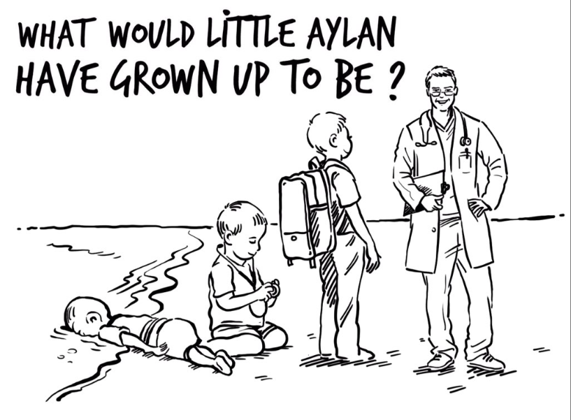 "Queen of Jordan Responds to Charlie Hebdo's Cartoon - In response to Charlie Hebdo newspaper, Queen Al Abdullah commissioned a cartoon on her twitter with the caption: ""What would little boy Alan have grown up to be?"" The queen's response was: ""A doctor, a teacher or a loving father""."