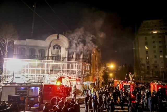 Saudi Arabia's embassy in Tehran ablaze on Sunday after the execution of a Shiite cleric in the kingdom. AP Photo