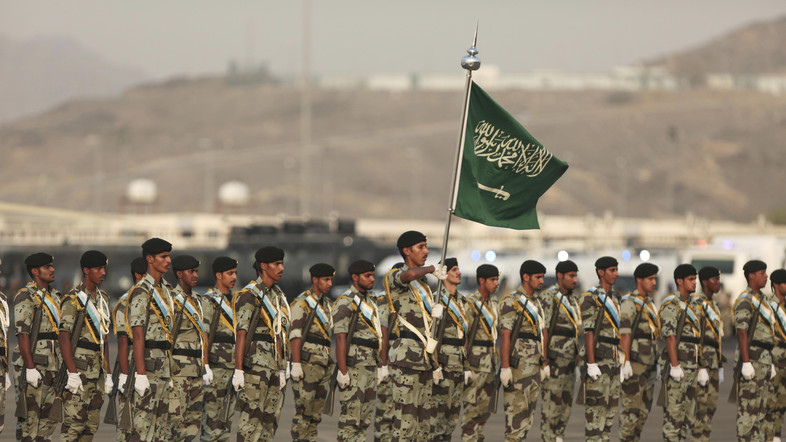 Saudi security forces take part in a military parade in preparation for the annual Hajj pilgrimage in Makkah, Saudi Arabia, Thursday, Sept. 17, 2015. (AP)