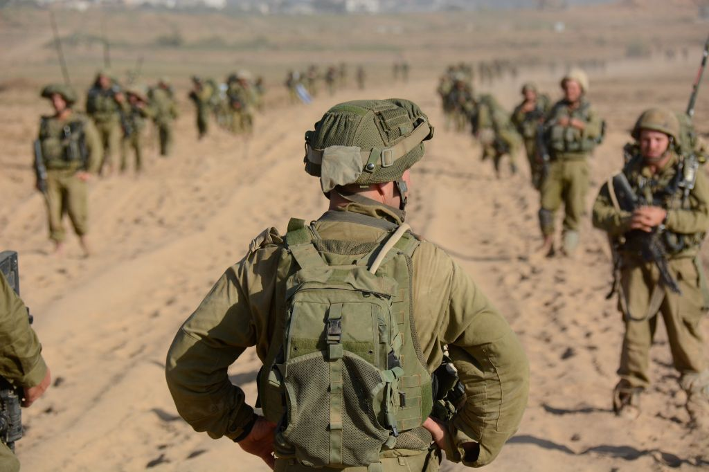An officer preparing to turn and lead his troops in Gaza (photo credit: IDF Spokesperson's Unit/ Flickr)