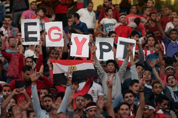 Egyptian fans carry placards and the national flag (AFP)