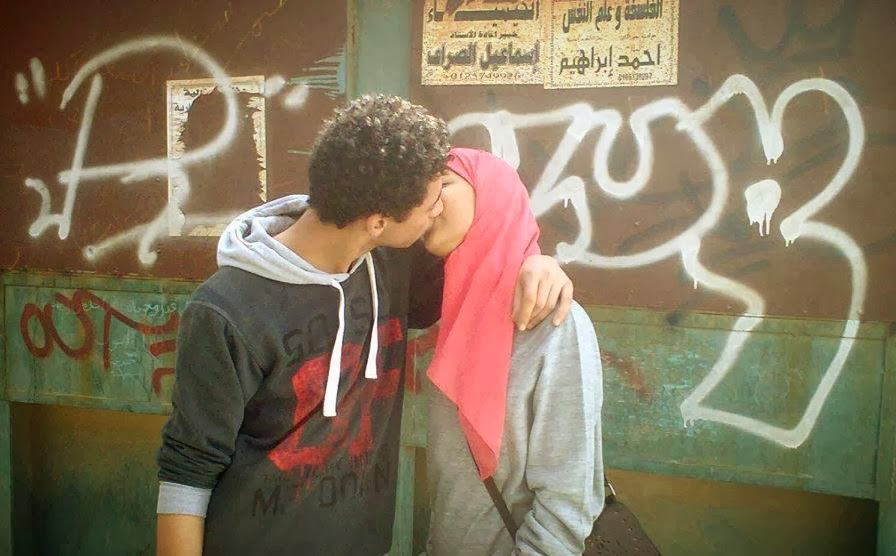 Muslims kissing in Cairo