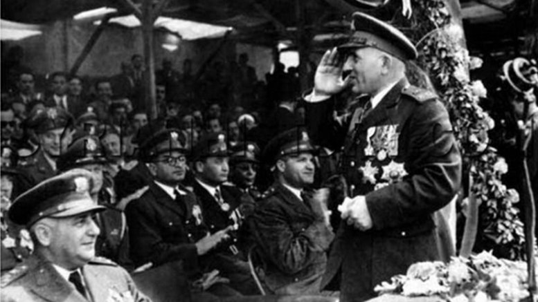 General Adib al-Shishakli with officers of the Syrian Army in 1953. Front row, to his left sits Head of State, President Fawzi Selu and General Aziz Abdul al-Karim. In the back seat, in glasses, is General Amin Abu Assaf, Riad Kaylani, and Mahmud Shawkat