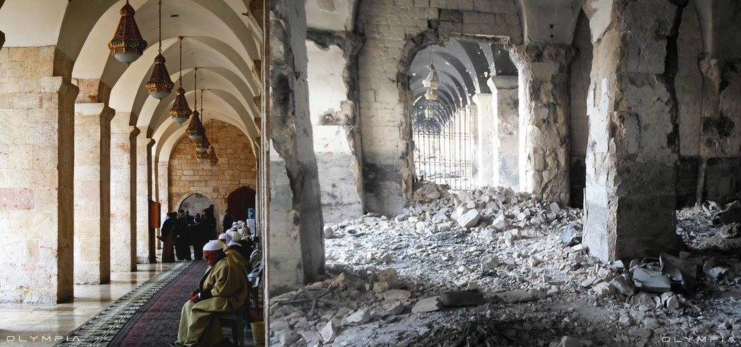 after sabotage and destruction and looting and burning the monuments and historical places, old houses, mosques, churches and the historical old markets (Souks) which are classified as Sites of World Heritage by UNESCO since 1986.