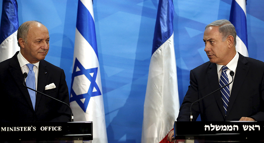 France's Damp Squib - MPC Journal - PM Netanyahu (R) and France's foreign minister Laurent Fabius deliver statements in Jerusalem, June 21, 2015. Photo by Thomas Coex / Reuters
