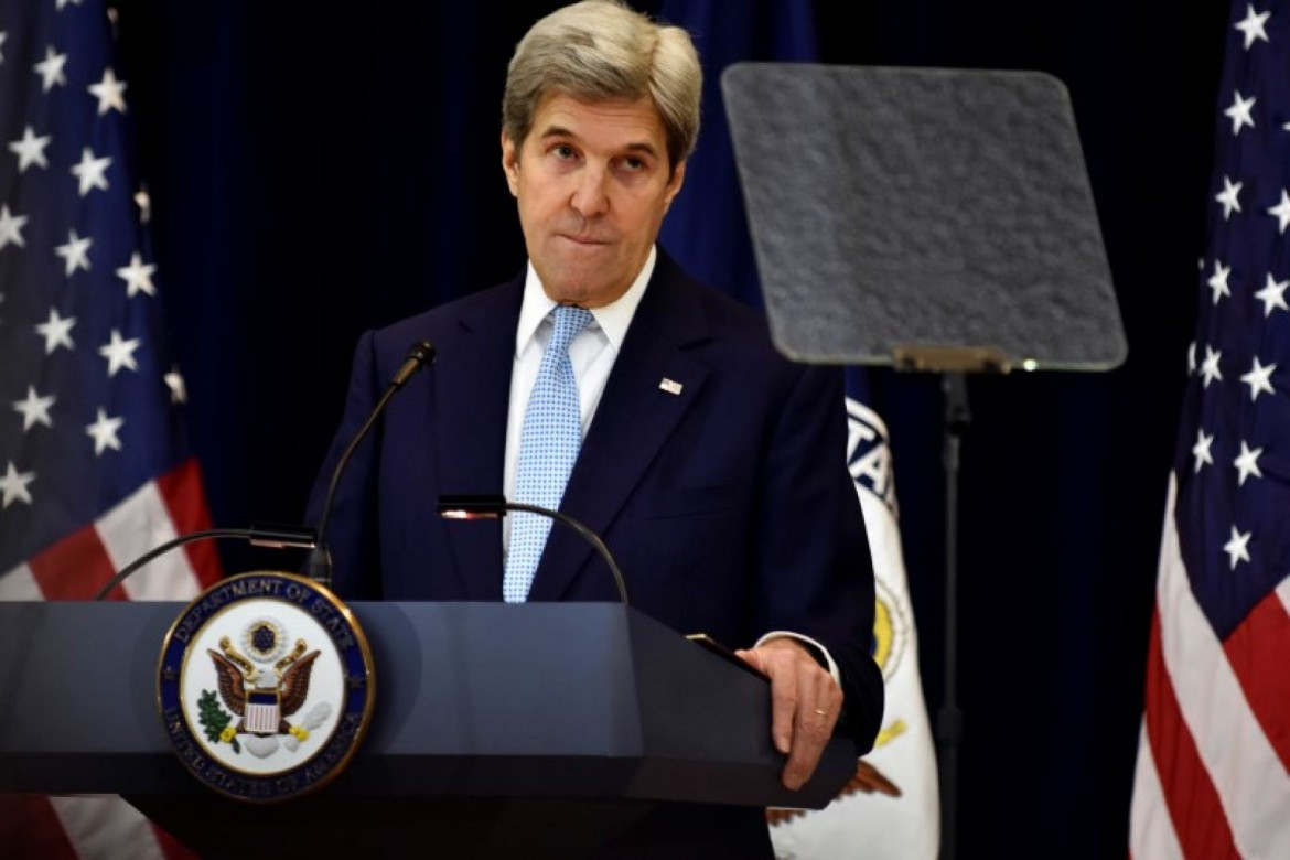 U.S. Secretary of State John Kerry delivers remarks on Middle East peace at the Department of State in Washington. Photo: Reuters