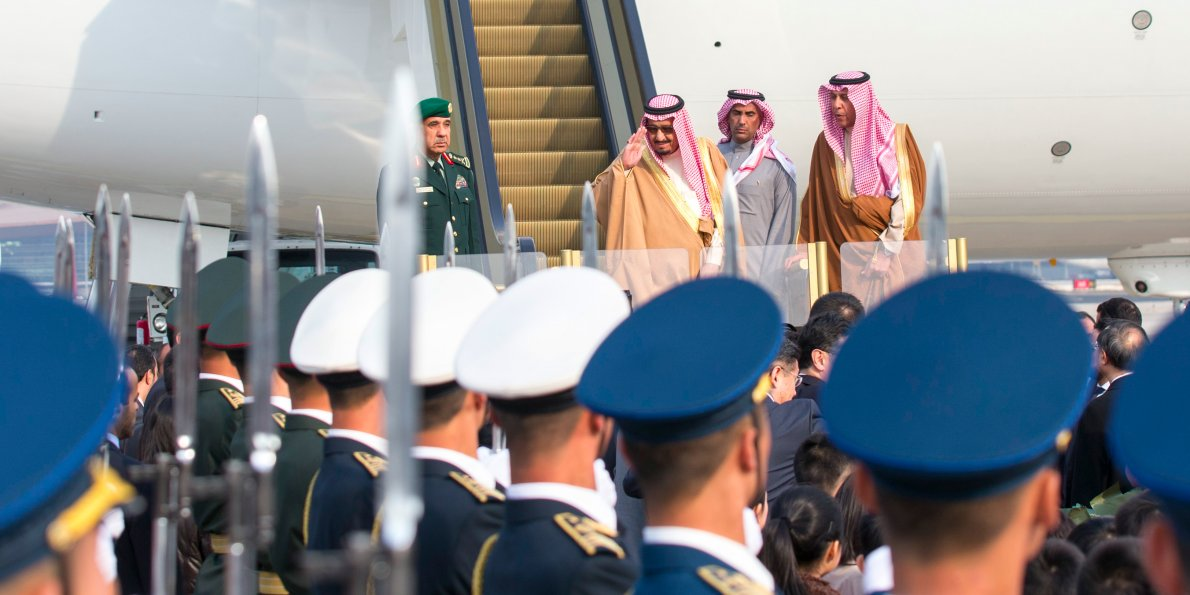 Saudi King Salman bin Abdulaziz Al Saud arrives at the airport for a state visit to China in Beijing, capital of China, March 15, 2017.Xinhua SIPA USA / PA Images