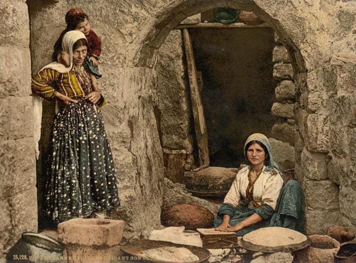 Women baking bread - Bread was usually baked in something called tanner , which can still be found in some villages in West Asia and North Africa. A tannour is a three foot by two foot oven made from clay that retains heat.  Usually, four to five families will share a tannour.