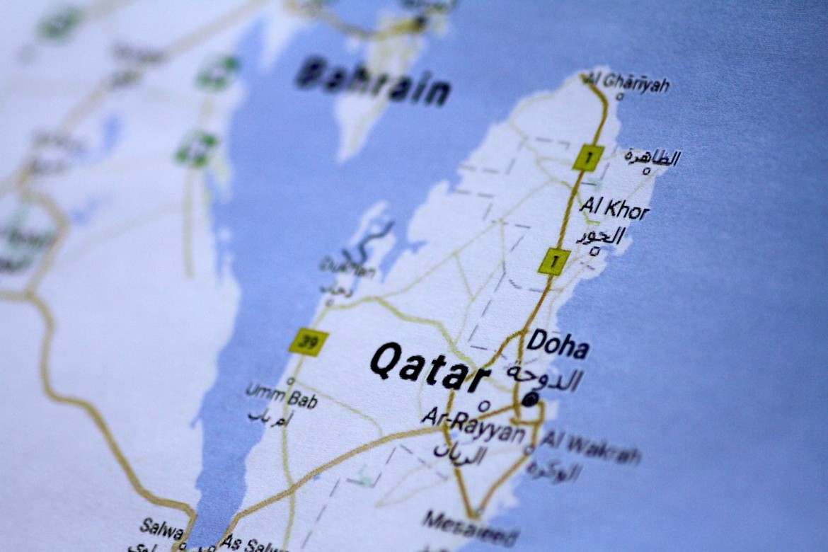 Illustration photo of a map of Qatar