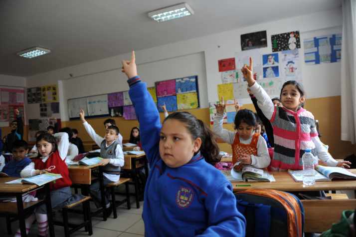 Turkish students attend a lesson at thei