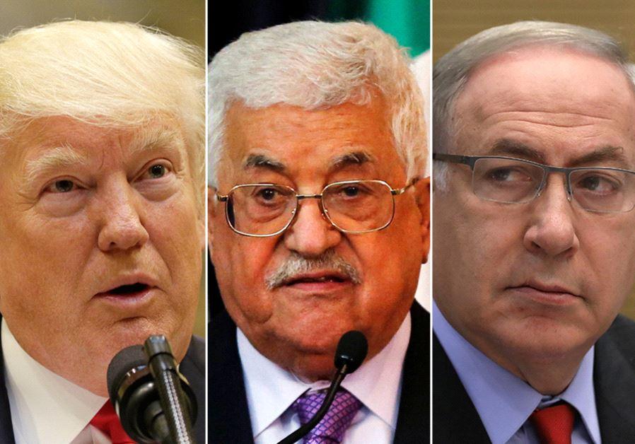 Trump Abbas and Netanyahu. (photo credit:REUTERS)
