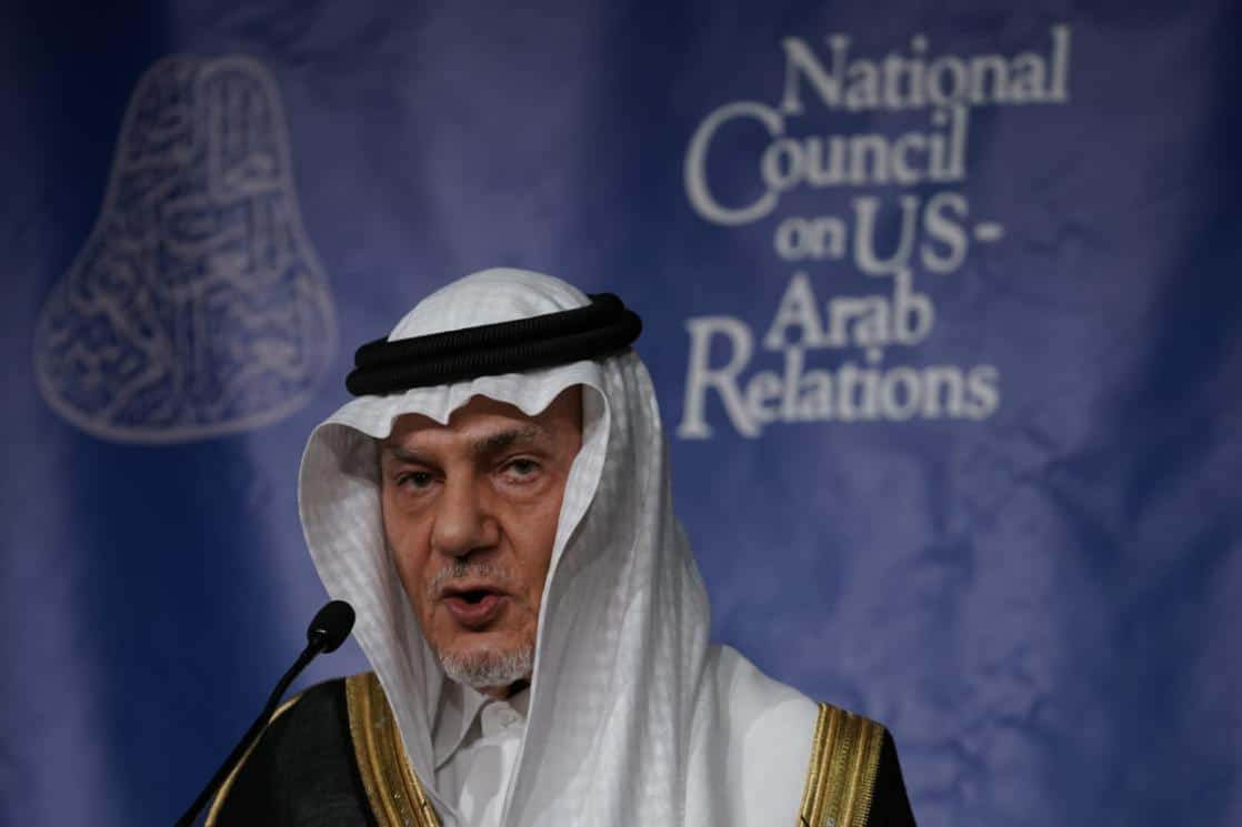 Secret Israel-Saudi Relations - Former Saudi Ambassador to the United States Turki Al Faisal Al-Saud speaks during the 27th annual Arab-U.S. Policymakers conference on 31 October, 2018 [Alex Wong/Getty Images]